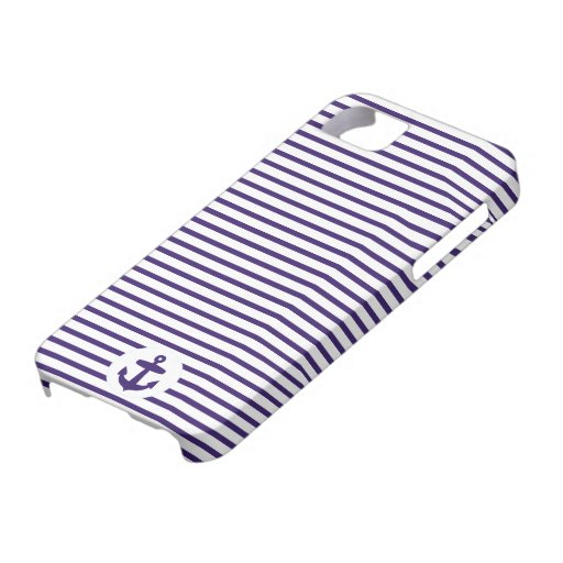 Blaue Anker-und Marine-Blau-Seemann-Streifen Hülle Fürs iPhone 5