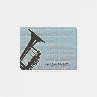 Blaue Anmerkungs-Trompete Post-it Klebezettel