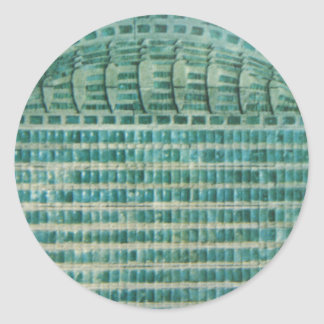 blaue aquamarine Fliesen Runder Aufkleber