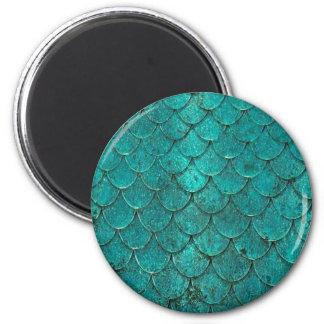 Blaue aquamarine Meerjungfrau-Skalen Runder Magnet 5,1 Cm
