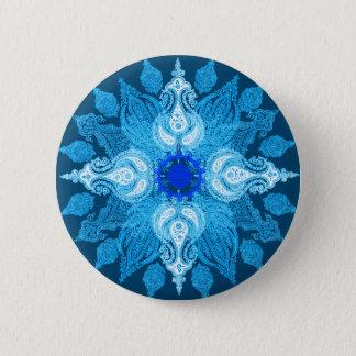 Blaue Aquapaisley-Sonnenblume Runder Button 5,1 Cm