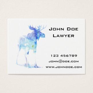 Blaue Aquarell Elchillustration Visitenkarte
