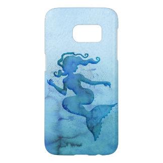 Blaue Aquarell-Meerjungfrau