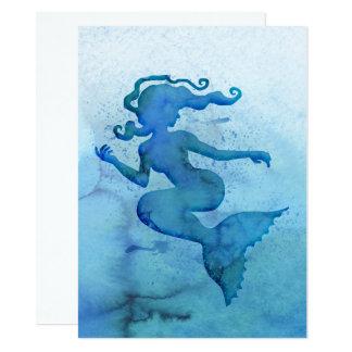 Blaue Aquarell-Meerjungfrau 14 X 19,5 Cm Einladungskarte