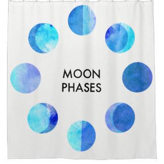 Blaue Aquarell-Mond-Phasen Duschvorhang