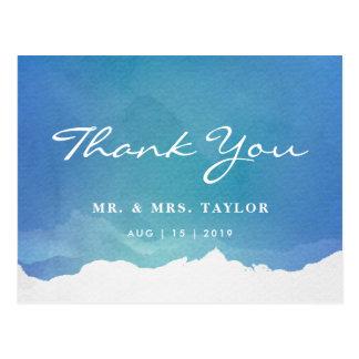 Blaue Aquarell-Strand-Hochzeit danken Ihnen Postkarte