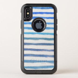 Blaue Aquarell-Streifen OtterBox Commuter iPhone X Hülle