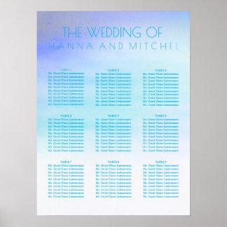 Blaue Aquarelle, die Sitzplatz-Diagramm Wedding Poster