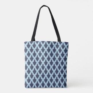 Blaue Arabeske-Druck-Taschen-Tasche Tasche