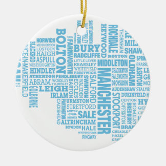 Blaue Art Karte von größerem Manchester Keramik Ornament