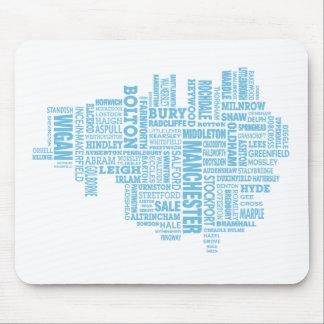 Blaue Art Karte von größerem Manchester Mousepad