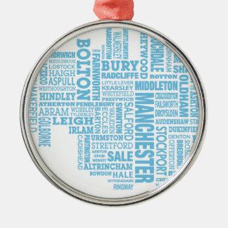 Blaue Art Karte von größerem Manchester Silbernes Ornament