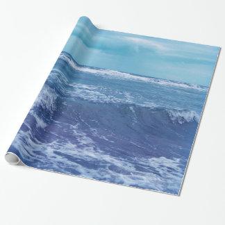 Blaue Atlantik-Wellen-Wolken-Himmel-Fotografie Geschenkpapier