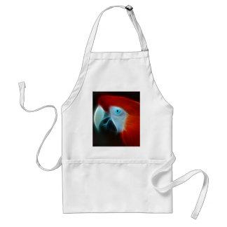 Blaue Augen des roten Fraktal-Papageien Schürze
