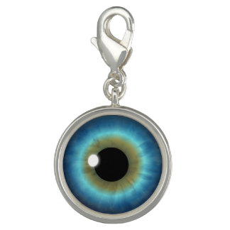 Blaue Augen-Iris-Augen-Spaß-cooler runder Foto Charm