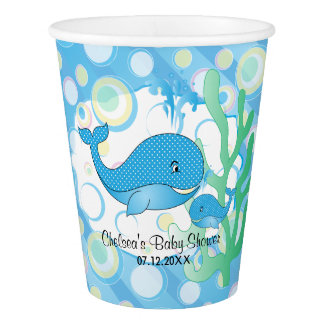 Blaue Baby-Wal-Babyparty Pappbecher
