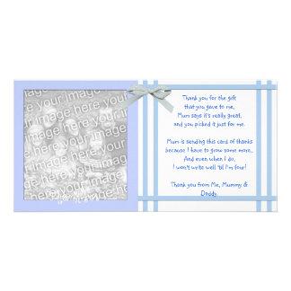 Blaue Babyparty danken Ihnen, vom Baby zu kardiere Photo Karten
