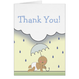Blaue Babyparty danken Ihnen zu kardieren Grußkarte
