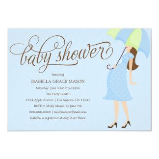 Blaue Babyparty des Regenschirm-| laden ein 12,7 X 17,8 Cm Einladungskarte