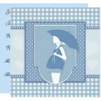 Blaue Babyparty-Einladung Quadratische 13,3 Cm Einladungskarte