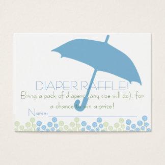 Blaue Babyparty-Regenschirm-Windelraffle-Karten Visitenkarte
