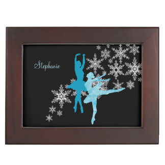 Blaue Ballerina-Schneeflocke Erinnerungsdose