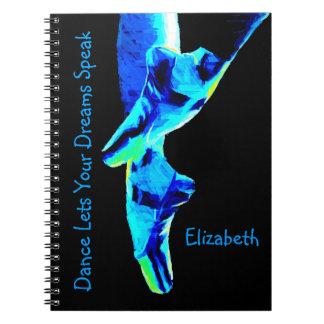 Blaue Ballett Pointe Pantoffel personalisiert Spiral Notizblock
