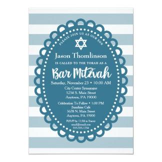 Blaue Bar Mitzvah Einladungs-niedlicher Streifen 12,7 X 17,8 Cm Einladungskarte