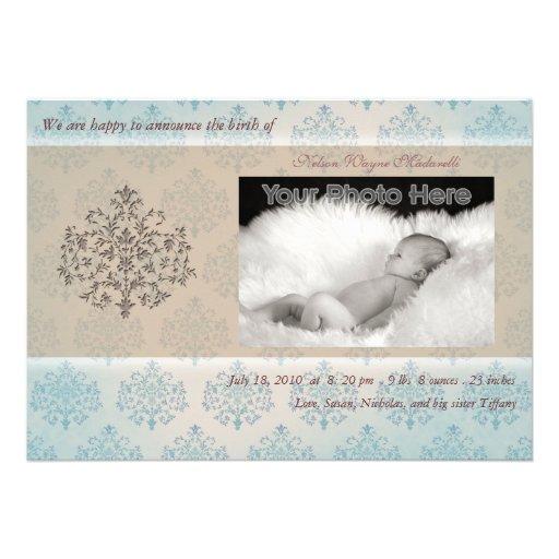 Blaue Baum-Baby-Geburtsmitteilung Ankündigungskarten