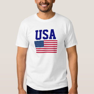 Blaue Benennungs-und USA-Flagge USA Tshirt