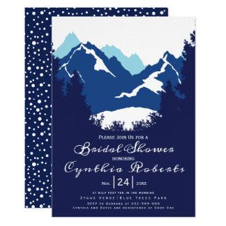Blaue Berge und Nadelbäume, die Brautparty wedding Karte