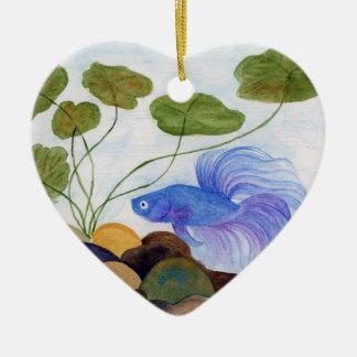 Blaue Betta Fische Keramik Ornament