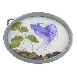 Blaue Betta Fische Ovale Gürtelschnallen