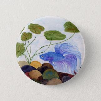 Blaue Betta Fische Runder Button 5,7 Cm