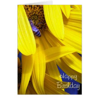 Blaue Biene auf gelber Sonnenblume - Karte