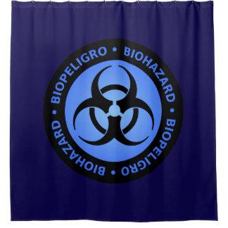Blaue Biogefährdung-Warnzeichen Duschvorhang