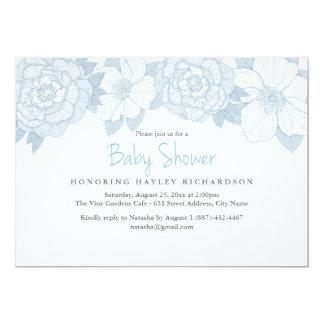 Blaue blühende Babyparty-Einladung Karte