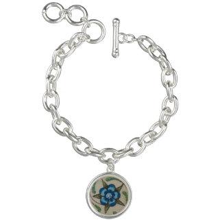 Blaue Blume Charm Armband