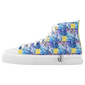 Blaue Blume Hoch-geschnittene Sneaker