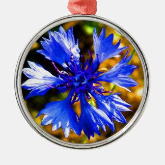 Blaue Blume Rundes Silberfarbenes Ornament