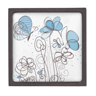 Blaue Blume Schmuckkiste
