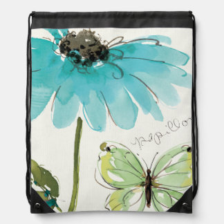 Blaue Blume und Schmetterling Sportbeutel