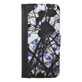 Blaue Blumen auf digitaler Kunst des iPhone 6/6s Plus Geldbeutel Hülle