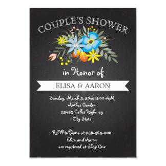 Blaue Blumen der Tafel, die Paardusche wedding 12,7 X 17,8 Cm Einladungskarte