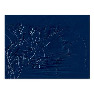 Blaue Blumen durch die Seegraphik Postkarte
