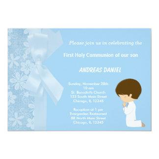 Blaue Blumen-heilige Kommunion Karte