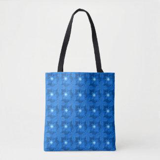 Blaue Blumen in 3D mit Sternen, Artdeco Tasche