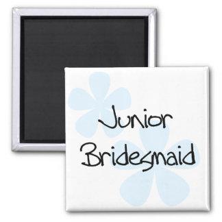 Blaue Blumen-jr.-Brautjungfer Quadratischer Magnet