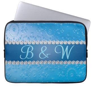 Blaue Blumen-Retro prägeartiges Laptopschutzhülle