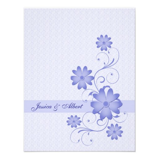 blaue blumen schablonen hochzeits einladung 10 8 x 14 cm. Black Bedroom Furniture Sets. Home Design Ideas